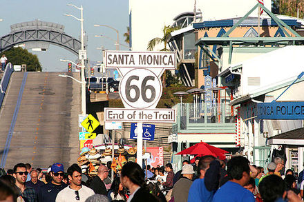 The sign of US 66's western terminus at the Santa Monica Pier End of route 66 in santa monica.jpg
