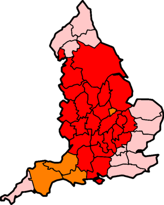 """Shire - The historic counties of England — red indicates """"-shire"""" counties, orange indicates where the """"-shire"""" suffix is occasionally used"""