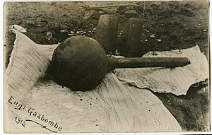 Chemical weapon - A British gas bomb that was used during World War I.