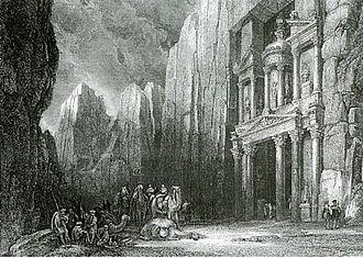 Nabataean architecture - Image: Engraving khazneh petra 1836