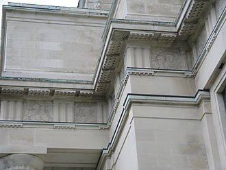Auckland War Memorial Museum - Part of the entablature on the museum's facade, depicting war scenes on its frieze.