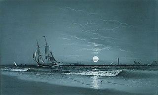 Entrance to Harbor—Moonlight