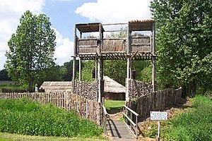Cockley Cley - Image: Entrance to the reconstruction of an Iceni village geograph.org.uk 46588