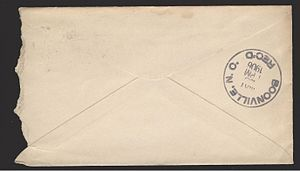 Envelope - Back of the above envelope, showing an additional receiving office postmark