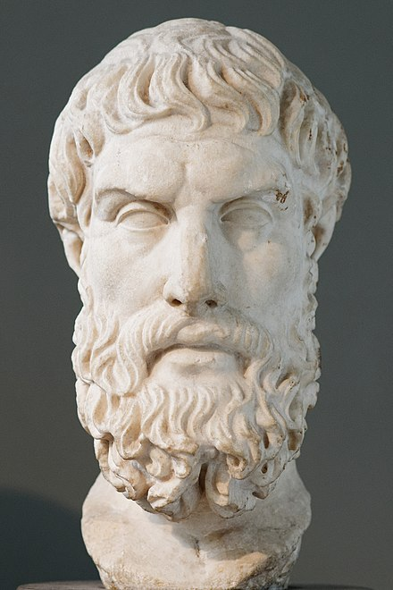 "Epicurus is credited with first expounding the problem of evil. David Hume in his Dialogues concerning Natural Religion (1779) cited Epicurus in stating the argument as a series of questions: ""Is God willing to prevent evil, but not able? Then he is impotent. Is he able, but not willing? Then he is malevolent. Is he both able and willing? Then whence cometh evil? Is he neither able nor willing? Then why call him God?"" Epikouros BM 1843.jpg"
