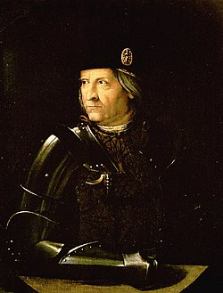 Ercole I d'Este was an important patron of the arts during the Italian Renaissance; he was Josquin's employer in 1503 and 1504.