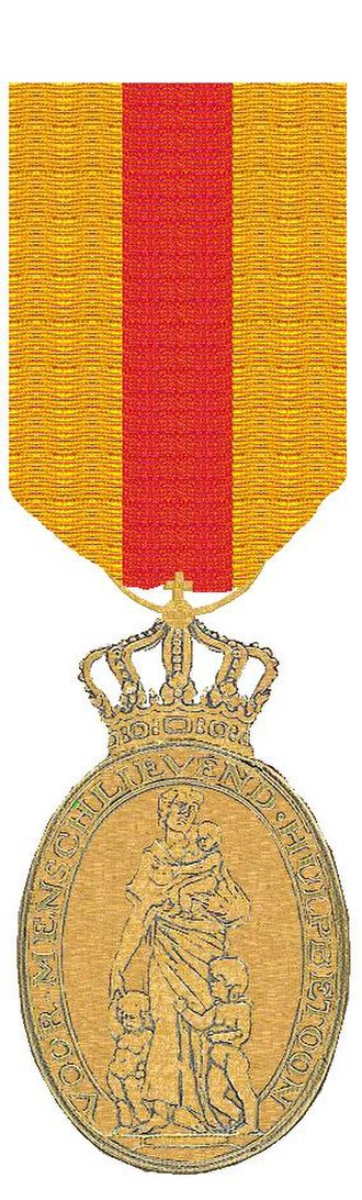 Honorary Medal for Charitable Assistance - Image: Erepenning voor Menslievend Hulpbetoon Versie sinds 1912