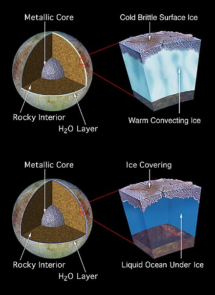 Two models for the composition of Europa predict a large subsurface ocean of liquid water. Similar models have been proposed for other celestial bodies in the Solar System. EuropaInterior1.jpg