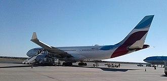 Hosea Kutako International Airport - Eurowings Airbus A330-200 ground handling at HKIA, August 2017