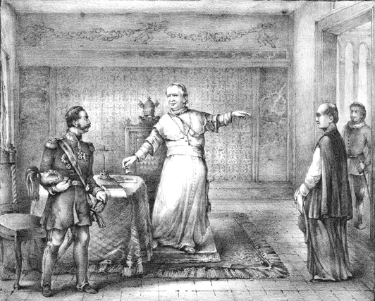Expulsion of the Imperial Russian envoy Felix von Meyendorff to the Holy See by Pope Pius IX for insulting the Catholic faith Expulsion of the Russian envoy to the Holy See Felix von Meyendorff by Pope Pius IX.PNG