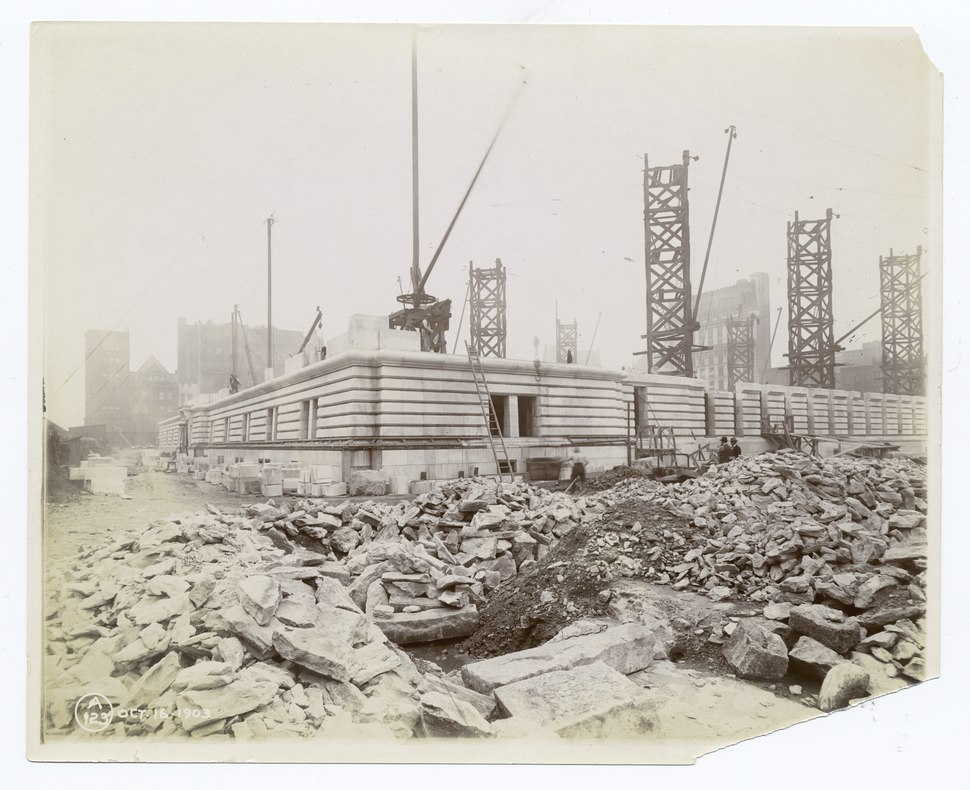 Exterior marble work - construction of the northwest corner (NYPL b11524053-489443).tiff
