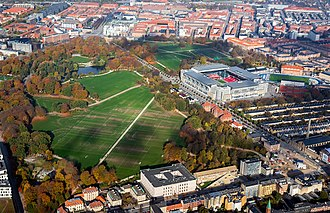 Fælledparken - Fælledparken with Parken Stadium in the upper right corner
