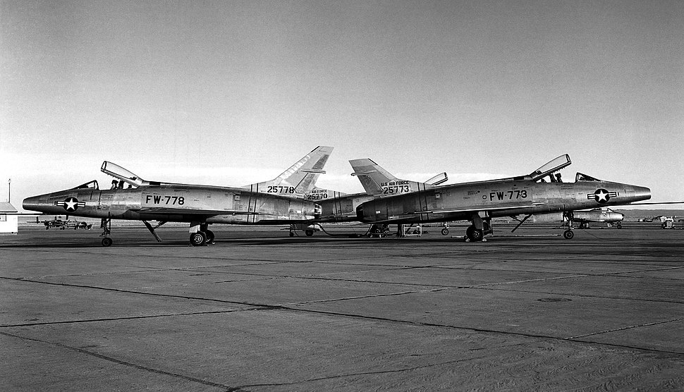 F-100As with and without lengthened fin NACA 1955