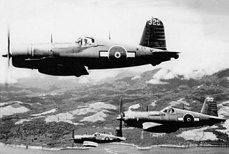 No. 26 Squadron RNZAF - F4U-1s of 26 Squadron in flight.