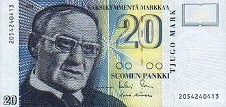 Finnish markka - 20 markkaa reverse