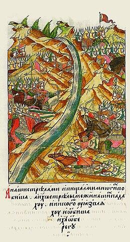 Стояние на Угре. Миниатюра летописного свода (XVI век)
