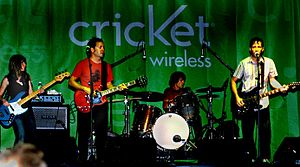 Fastball (band) - Fastball live at Waterloo Park in Austin, Texas, August 6, 2006. From left to right: Harmoni Kelley (support musician), Miles Zuniga, Joey Shuffield, and Tony Scalzo.