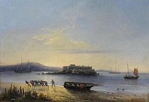 Ferdinand Victor Perrot - Virage de la longue barque sur la plage.jpg