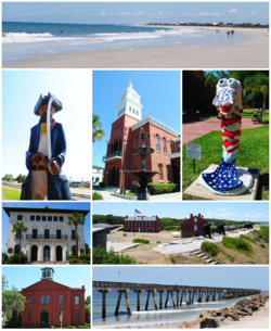 Images from top, left to right: Beach, statue of a pirate (the mascot of Fernandina Beach High School), Nassau County Courthouse (Florida), shrimp statue (representing the annual Shrimp Festival), United States Post Office, Custom House, and Courthouse (Fernandina, Florida, 1912), Fort Clinch, Old School House, Fort Clinch Pier