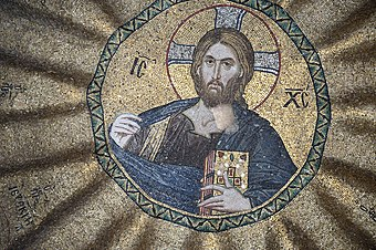 Mosaic of Jesus in Pammakaristos Church in Istanbul, Turkey