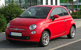 Fiat 500 (2007) - Image: Fiat 500 1.4 16V Rosso Corsa – Frontansicht, 7. Mai 2011, Düsseldorf