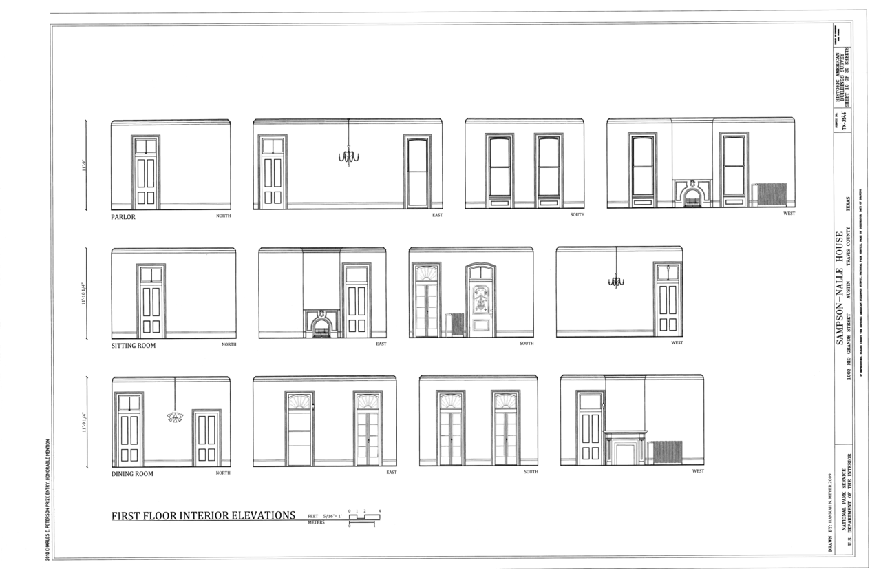 File First Floor Interior Elevations Sampson Nalle House
