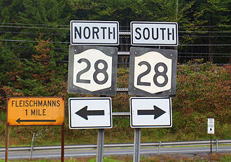 New York State Route 28 - NY 28 becomes a north–south route just before the Delaware County line.