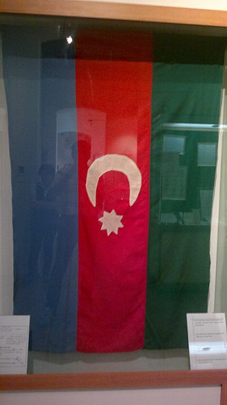 Flag of Azerbaijan - The state flag of the Azerbaijan Democratic Republic made by the first President of the Azerbaijani National Council Mammed Amin Rasulzade and his wife. Displayed at the Museum of History of Azerbaijan.