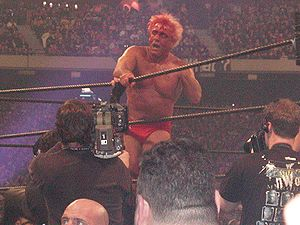 Blading (professional wrestling) - Ric Flair, a regular practitioner of blading, as demonstrated at WrestleMania X8