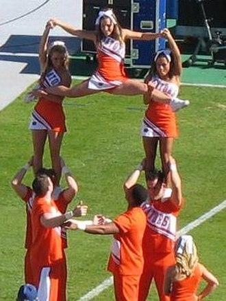 Florida Gators - Cheerleaders performing at a home football game.
