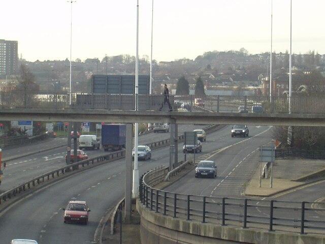 Footbridge over Leeds Inner Ring Road - geograph.org.uk - 104747