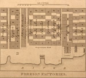 Thirteen Factories - The layout of the factories just before the 1841 fire
