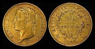 Napoléon (coin) - Image: France 1807 A 40 Francs