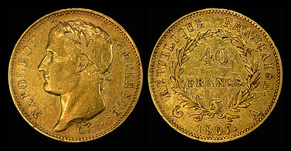 1807 40 gold francs, now depicting Napoleon as Emperor.