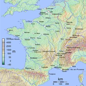 Francia metropolitana con las ciudades (áreas urbanas) de más de 100 000 habitantes.