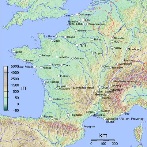 A relief map of Metropolitan France, showing cities with over 100,000 inhabitants. France cities.png