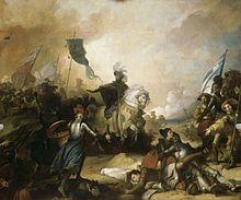 Tableau représentant la fin d'une bataille avec des soldats couchés au sol, des soldats debout et un roi sur son cheval