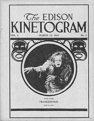 Frankenstein (1910 film) - Cover of a 1910 The Edison Kinetogram film catalog, featuring the first motion picture adaptation of Mary Shelley's Frankenstein.