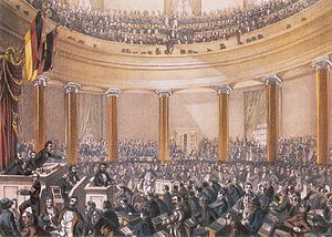 Robert Blum - Painting by Ludwig von Elliott of the Frankfurt Parliament during a speech by Robert Blum, 1848