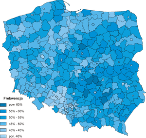 Polish local elections, 2010 - Election turnout by county (powiat).