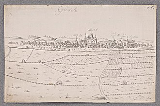 Gävle - Gävle at the end of the 17th century. The three most prominent buildings are (from left to right): The palace, the town hall, the church.