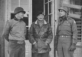 J. Lawton Collins - Major General J. L. Collins, commanding VII Corps, with Field Marshal Sir B. L. Montgomery, commander of the 21st Army Group, and Major General M. B. Ridgway, Commanding XVIII Airborne Corps, December 1944.