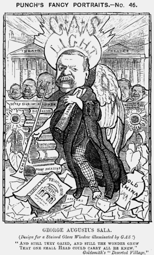 George Augustus Henry Sala - 1881 Caricature from Punch