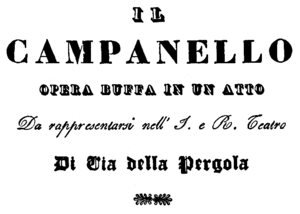 Gaetano Donizetti - Il campanello - title page of the libretto - Florence 1838.png