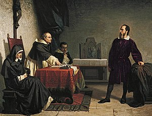 Vincenzo Maculani - Maculani (in priestly vestments) reading the charges against Galileo Galilei (standing), by Cristiano Banti (1857).