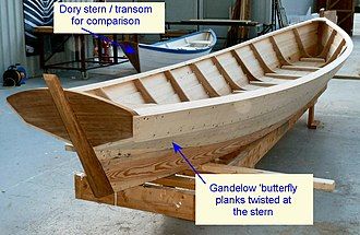 Gandelow - Gandelow under construction at the Ilen School and Network for Wooden Boat Building, 2014