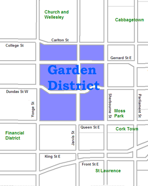 Garden District, Toronto - Image: Garden District map