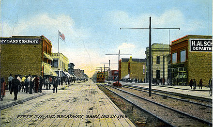 5th Ave and Broadway in 1908 GaryIndiana-FifthAve-Broadway-1909-SS (S Shook CollectionO.jpg