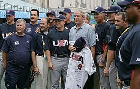 George W. Bush with US baseball team at 2008 Summer Olympics 2008-08-11.jpg