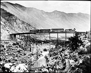 Georgetown–Silver Plume Historic District - The Georgetown Loop high bridge as seen c. 1885.